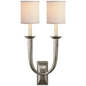 French Deco Horn Double Sconce with Linen Shade by Studio VC