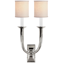 Load image into Gallery viewer, French Deco Horn Double Sconce with Linen Shade by Studio VC