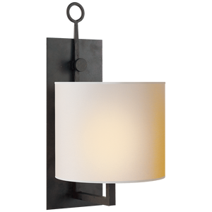 Aspen Iron Wall Lamp in Black Rust with Natural Paper Shade by Visual Comfort
