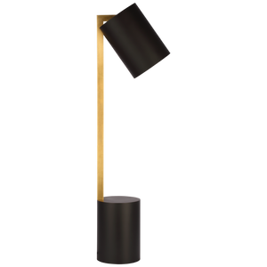 Anthony Pivoting Desk Lamp in Matte Black and Hand-Rubbed Antique Brass by Ian K. Fowler