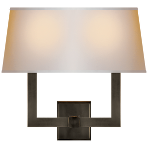 Square Tube Double Sconce w/ Rectangle Shade