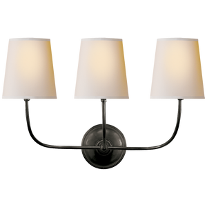 Vendome Triple Sconce with Natural Paper Shade By Thomas O'Brien
