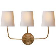 Load image into Gallery viewer, Vendome Triple Sconce with Natural Paper Shade By Thomas O'Brien