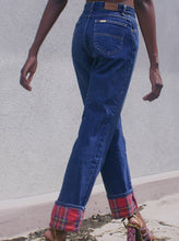 Load image into Gallery viewer, Plaid Cuff High Waisted Jeans