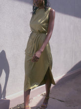 Load image into Gallery viewer, Khaki-green Satin effect Dress