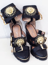 Load image into Gallery viewer, Jeffery Campbell Black and Gold Heels
