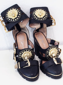 Jeffery Campbell Black and Gold Heels