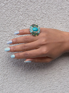Blue & Green Stone Vintage Ring