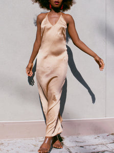 Beige Sexy Slip Dress