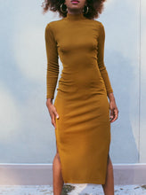 Load image into Gallery viewer, Mustard Long Sleeve Double Split Dress