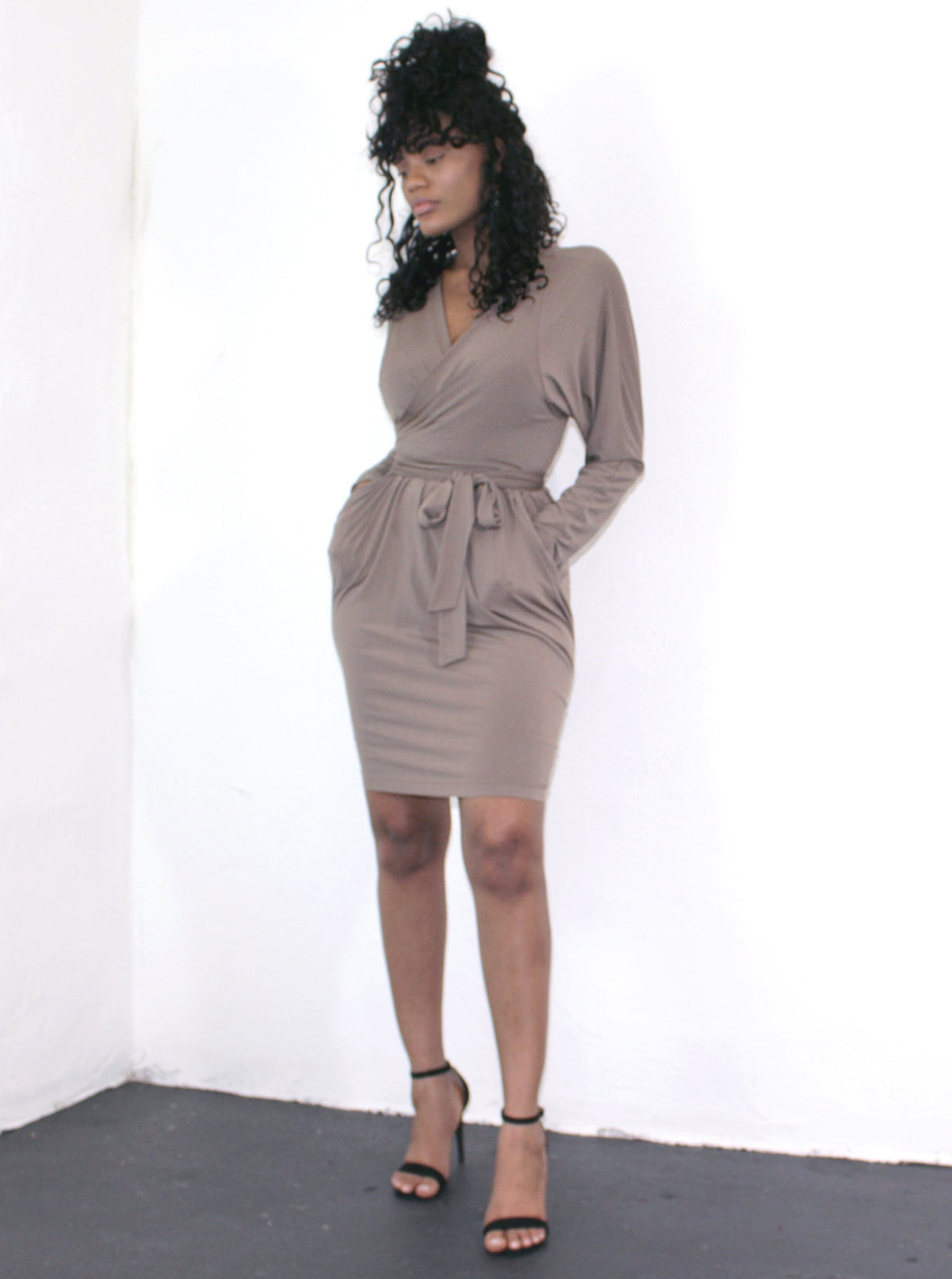 BCBG Long Sleeve Belted Dress