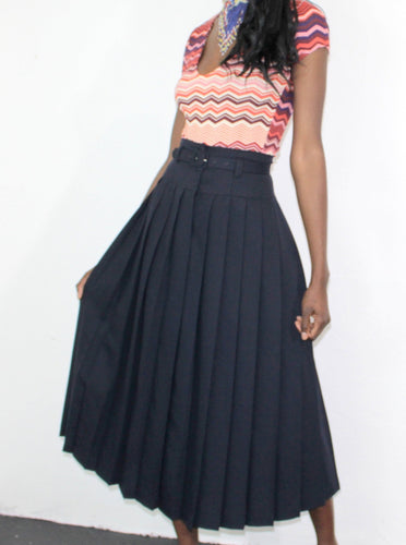 Pleated Vintage Navy Skirt