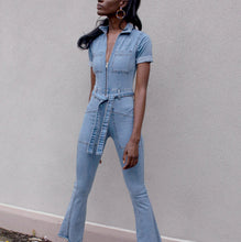 Load image into Gallery viewer, Denim Bell Bottom Jumpsuit