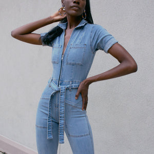 Denim Bell Bottom Jumpsuit