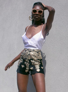 Gold Floral Pattern Shorts Only