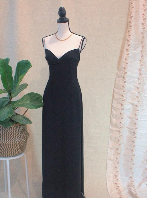 High Slit Vintage Black Dress