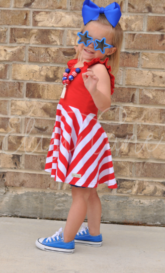 Grace Flutter Stripe Twirl Dress
