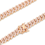 12mm Regular Lock Brass Cuban Chain with Big Pink Stone