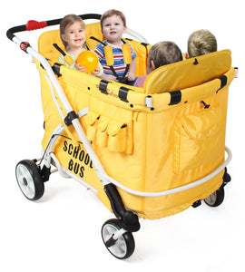 WonderFold Multifunction Quad Stroller Wagon (4 Seater School Bus)