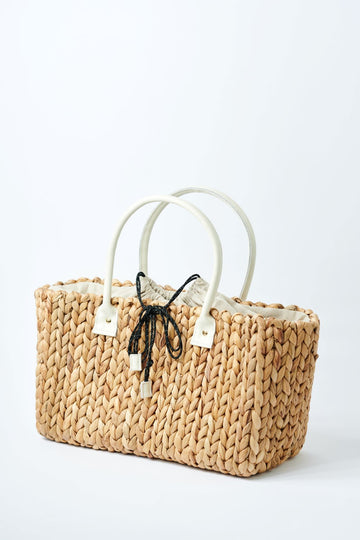 medium natural hyacinth straw tote with linen cinch top