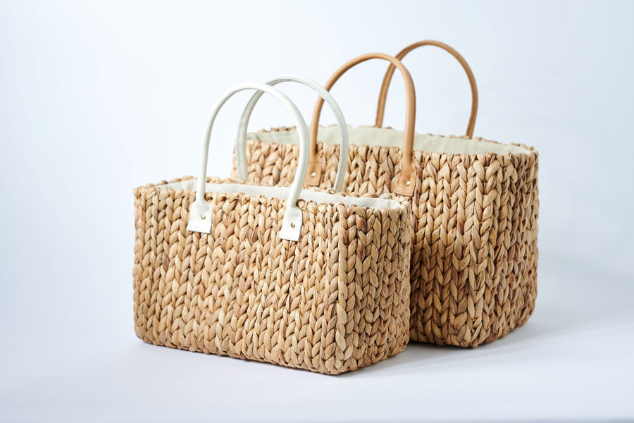 collection of 2 sizes hyacinth straw totes