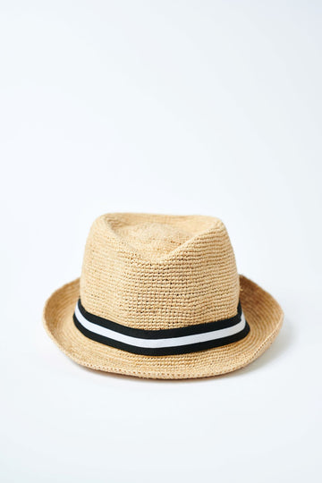 Natural colored crochet straw fedora hat with black & white stripe rope band.