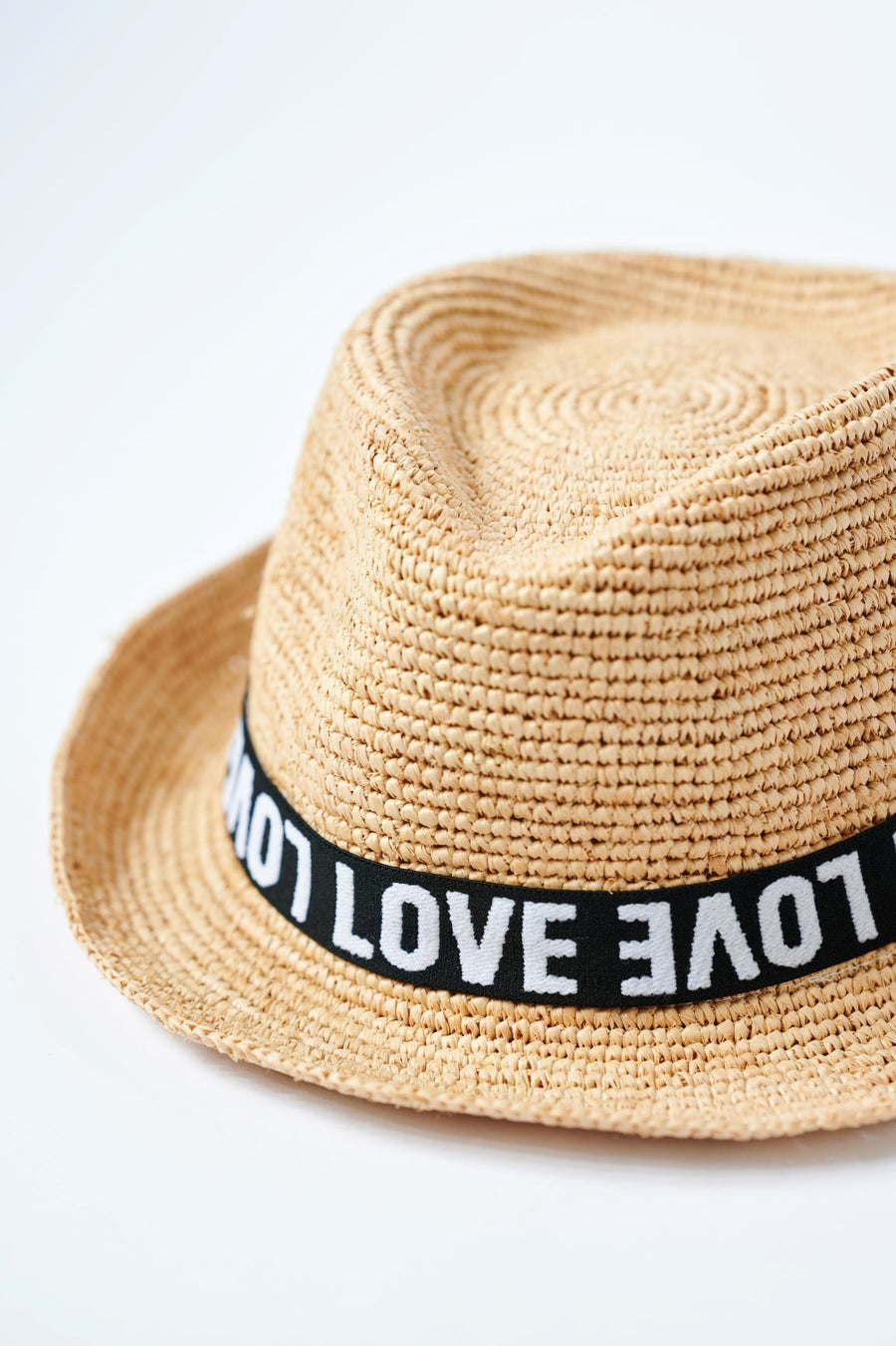 Natural colored crochet straw fedora hat with black & white LOVE band.