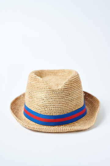 Natural colored crochet straw fedora hat with royal & red stripe rope band.