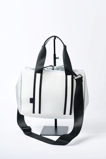 small white mesh tote with crossbody strap