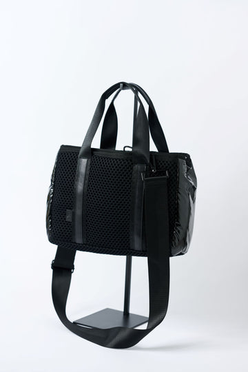 small black mesh tote with crossbody strap