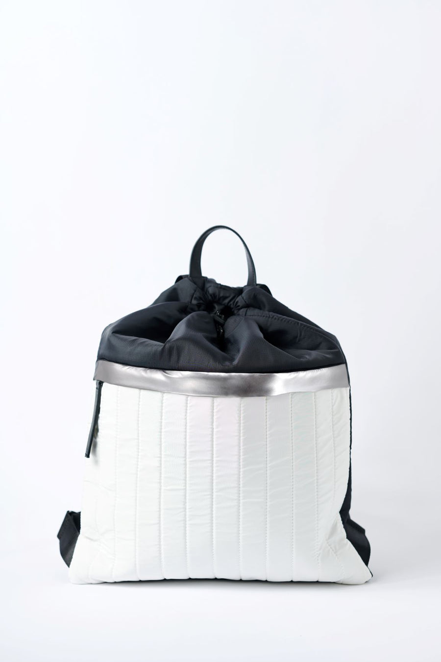 Black & white nylon cinch top backpack with signature leather and shiny silver details.