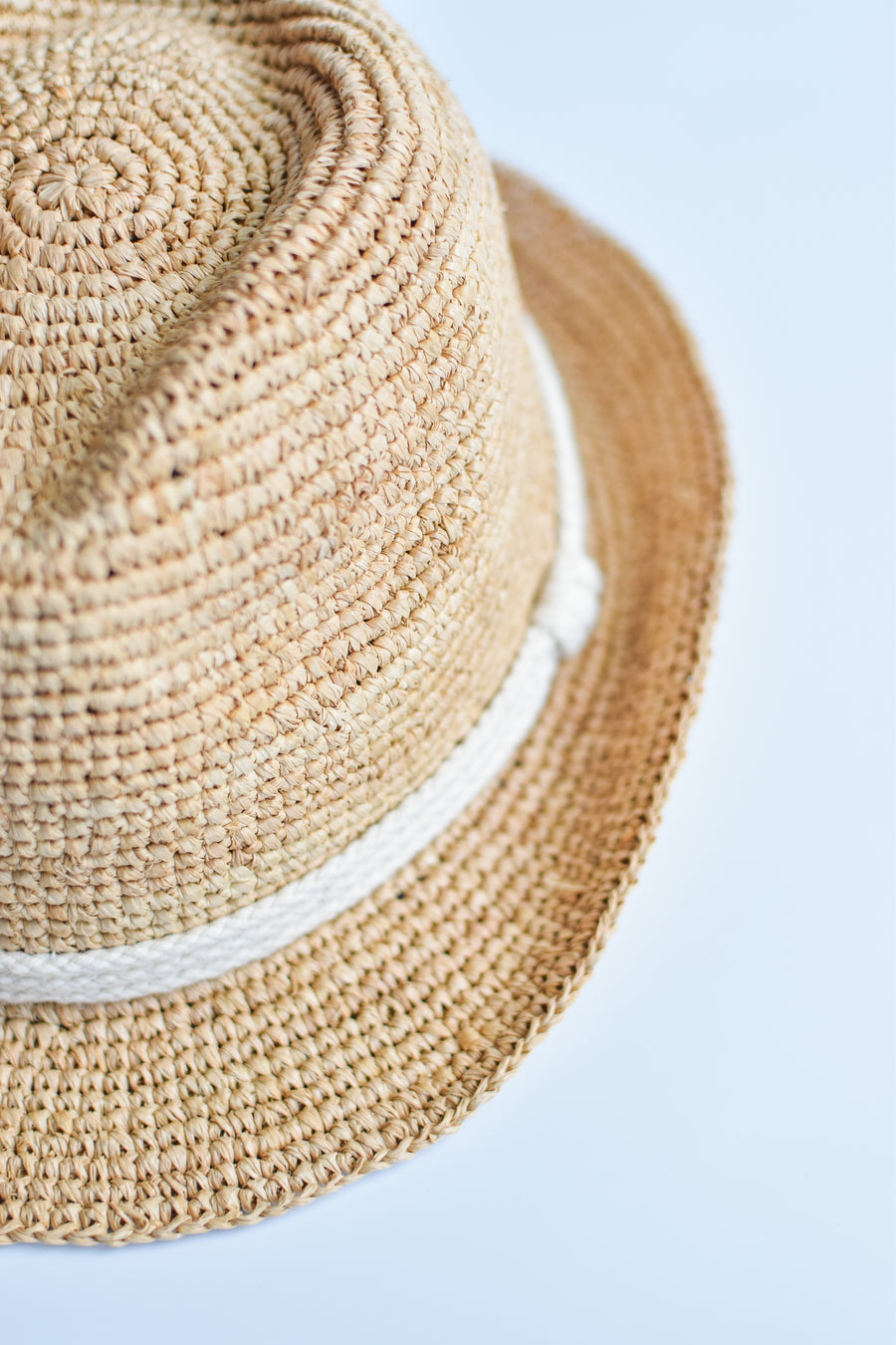 Close up of rope band detail on crochet straw fedora hat.