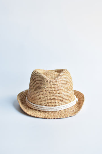 Natural colored crochet straw fedora hat with ivory rope band.