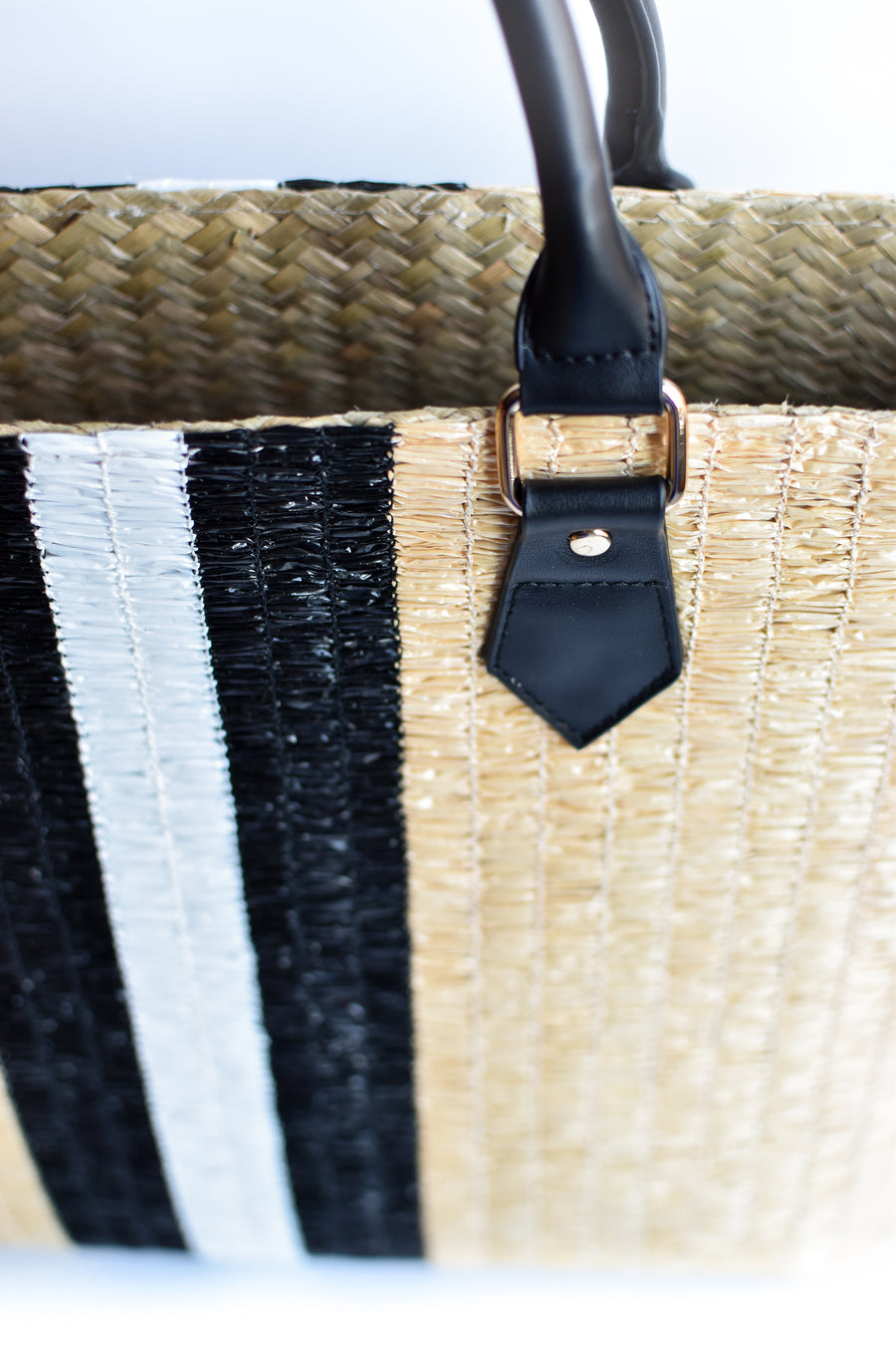 Close up of black & white center stripe detail on Benicia straw bag.