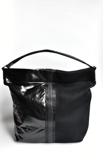 Black mesh and glossy vinyl sporty tote bag with black leather and webbing details.