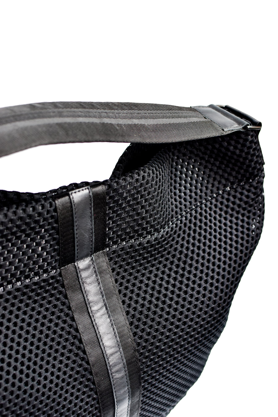 Black mesh sporty tote bag with black leather and webbing details.