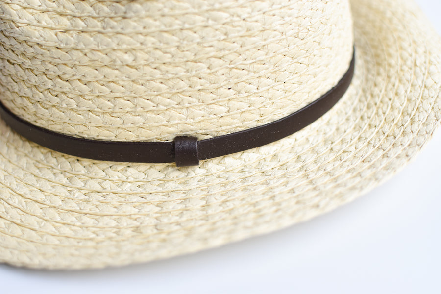 Close up of natural straw panama hat with thin brown leather band.