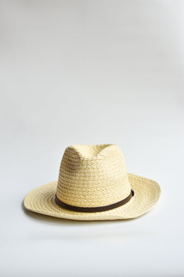 Natural straw panama hat with thin brown leather band.