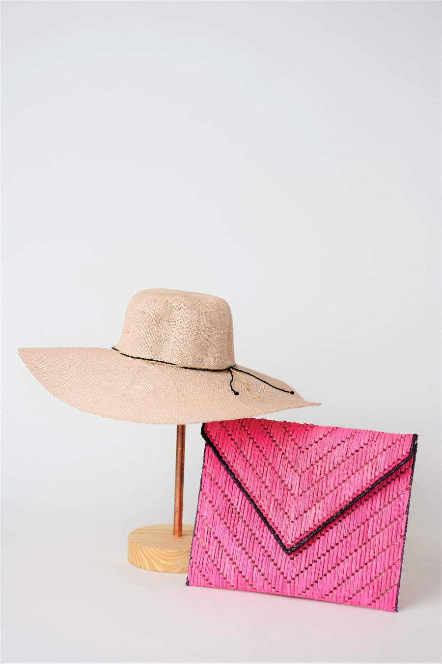 Collection of pink straw from Anya & Niki - the Big Hat and the Pixley Clutch