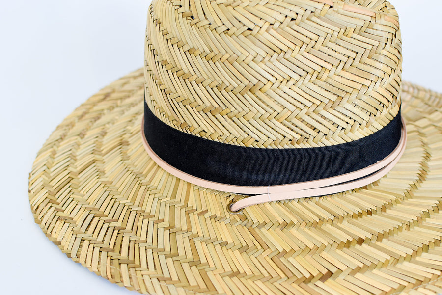 Close up of tan leather chin strap and black band detail on straw lifeguard hat.