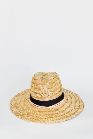 Straw lifeguard hat with tan leather chin strap and black band detail.