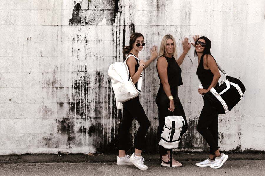 Anya & Niki Sport Luxe bag collection, featuring Casselberry backpack, Brooker backpack and Simi duffel bag.
