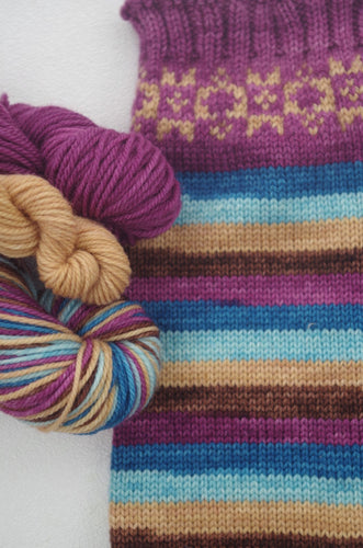 PREORDER: Woolly Mammoth - Self Striping Sock Yarn and Colorwork Kit