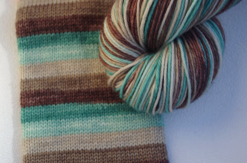 PREORDER: Oxidized Copper Wire on an Old Telephone Pole - Self Striping Sock Yarn