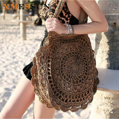 Bags for Women Big Circle - XMESSUN 2018 - Handbags Summer Vintage Rattan Bag Handmade