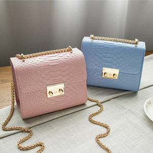 COOL WALKER Alligator Crocodile Leather Mini Small Women Crossbody bag chain women's handbag messenger shoulder bag with Pink