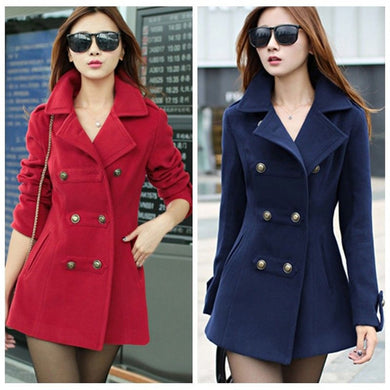 Fashion ZOGAA  Women's Double-Breasted Slim Solid Wool-Blend Winter Pea Coats