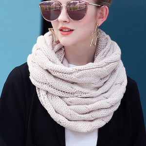 New  Neck Circle Scarf Female Winter Warm Snood Scarf Knitted Cable Ring Scarf Women Soft Infinity Scarves Women Cashmere
