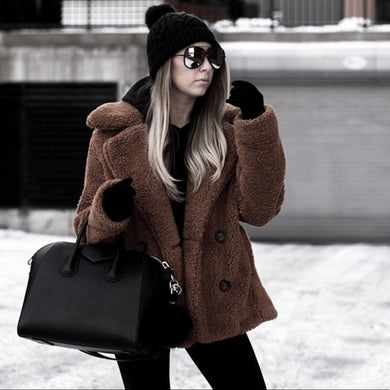 New Jacket Coat Winter Warm Thick . Coat Women Fur  Coat Button Fluffy Plush Oversize Outerwear