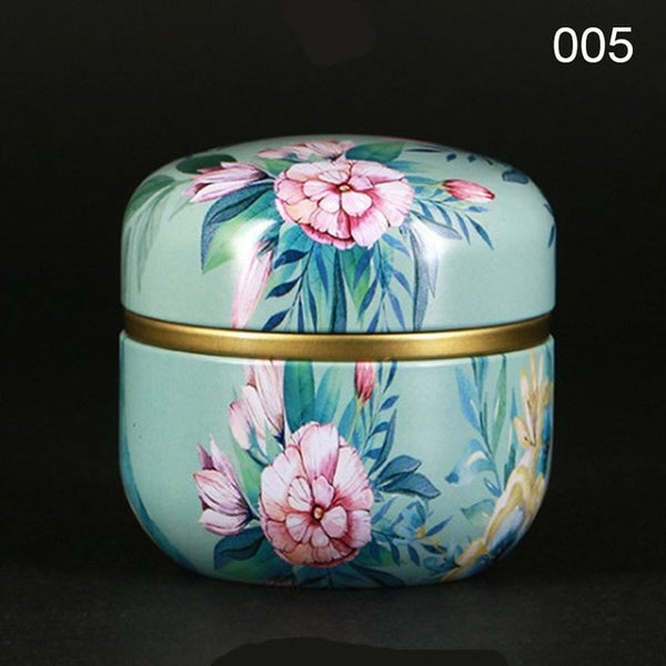 Multifunction Chinese Style Tea Caddies Round Metal Tea Box Jar with Lid*